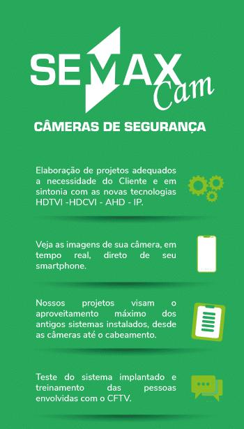 Infográfico dos benefícios oferecidos pelos serviços Semax Cam - instalação de câmeras e alarmes